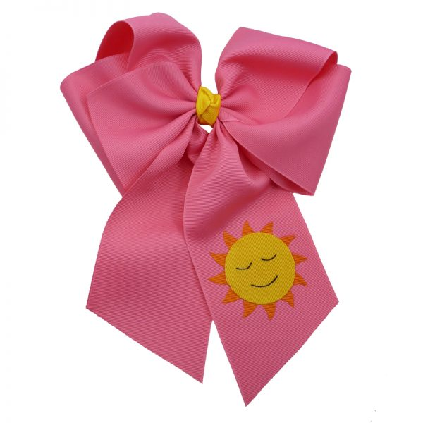 hot pink, sun, bow, summer, hair bow, hairbow, bows, hair, bow, girls, toddler, child, barrette, grosgrain, yellow, orange