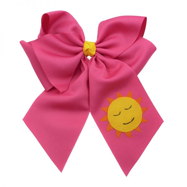shocking pink, yellow, orange, sun, bow, summer, hair bow, hairbow, bows, hair, bow, girls, toddler, child, barrette