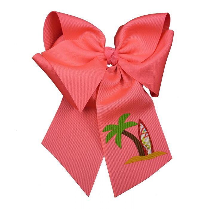 surfboard, bow, summer, hair bow, hairbow, bows, hair, bow, girls, toddler, child, barrette, grosgrain, palm tree, red, brown, green, coral