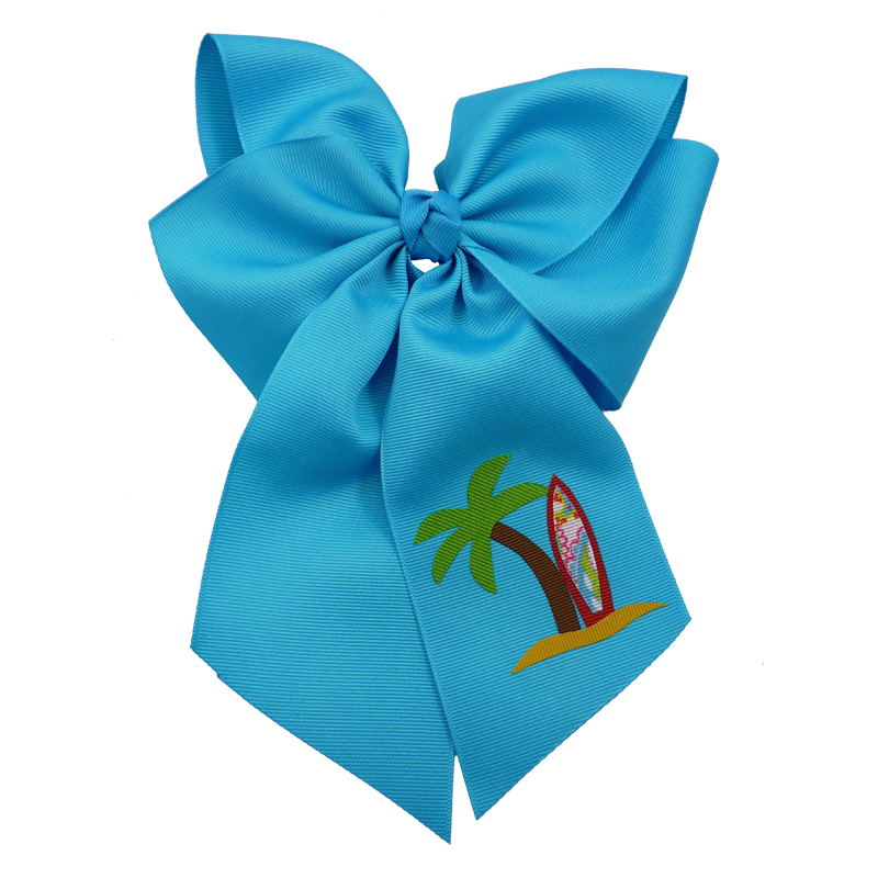 surfboard, bow, summer, hair bow, hairbow, bows, hair, bow, girls, toddler, child, barrette, grosgrain, palm tree, red, brown, green, turquoise