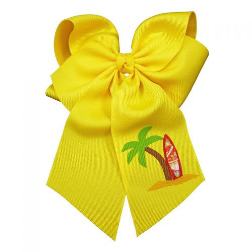 surfboard, bow, summer, hair bow, hairbow, bows, hair, bow, girls, toddler, child, barrette, grosgrain, palm tree, red, brown, green, yellow