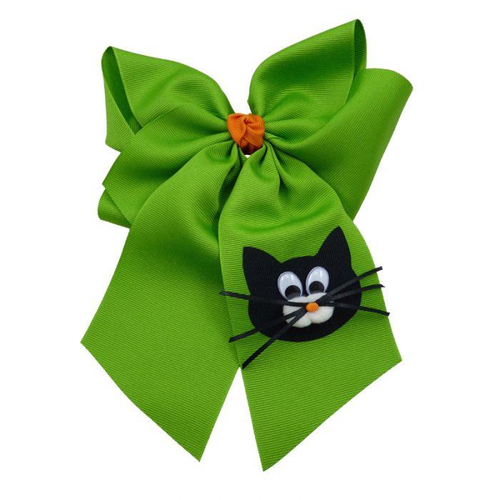 orange apple green cat face black kitten halloween fluff child girls toddler barrette hair bow hairbow