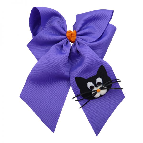 purple orange cat face black kitten halloween fluff child girls toddler barrette hair bow hairbow