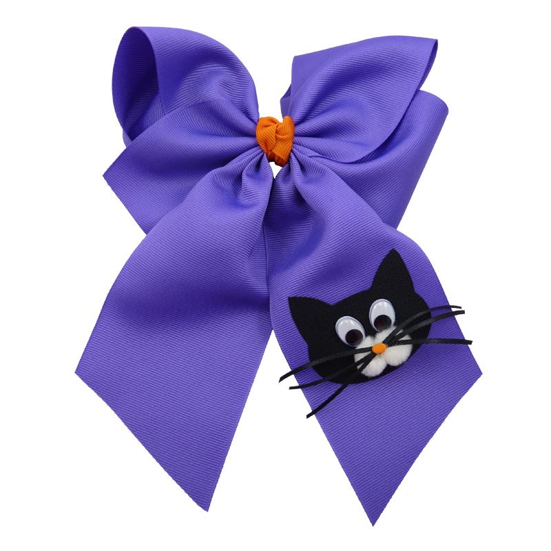 purple orange cat face black kitten halloween fluff child girls toddler barrette hair bow hairbow