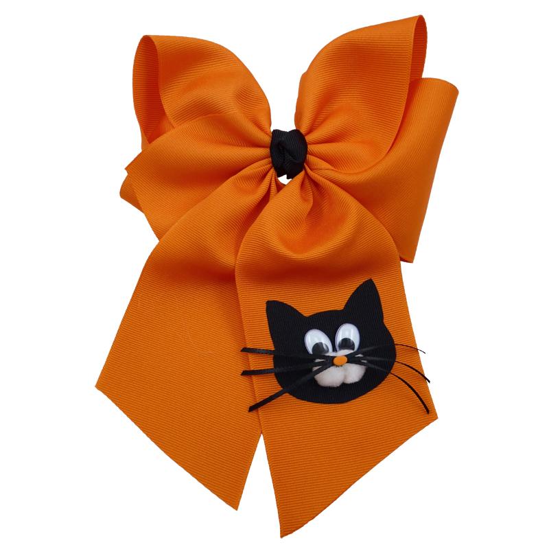 orange cat face black kitten halloween fluff child girls toddler barrette hair bow hairbow