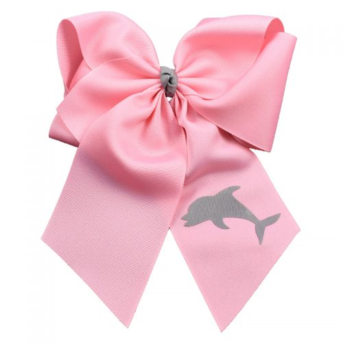 pink, dolphin, bow, summer, hair bow, hairbow, bows, hair, bow, girls, toddler, child, barrette, grosgrain, grey, gray