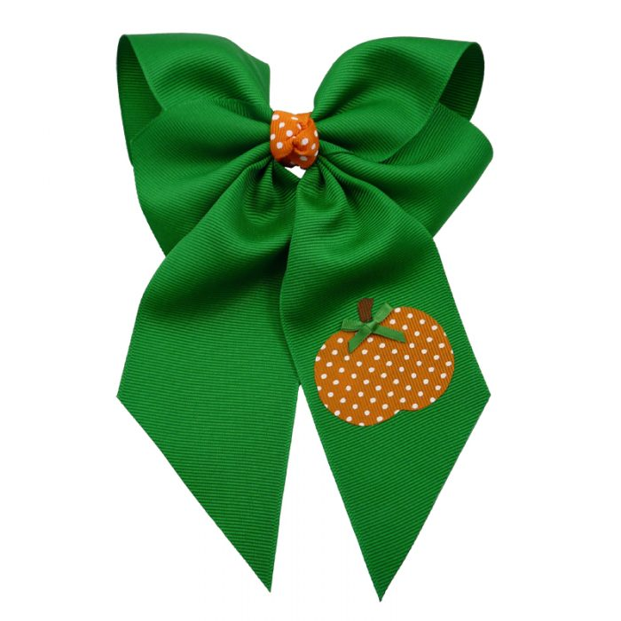 emerald orange white green fluff bow bows hairbow hair girls girl toddler child swiss dot pumpkin polka fall thanksgiving