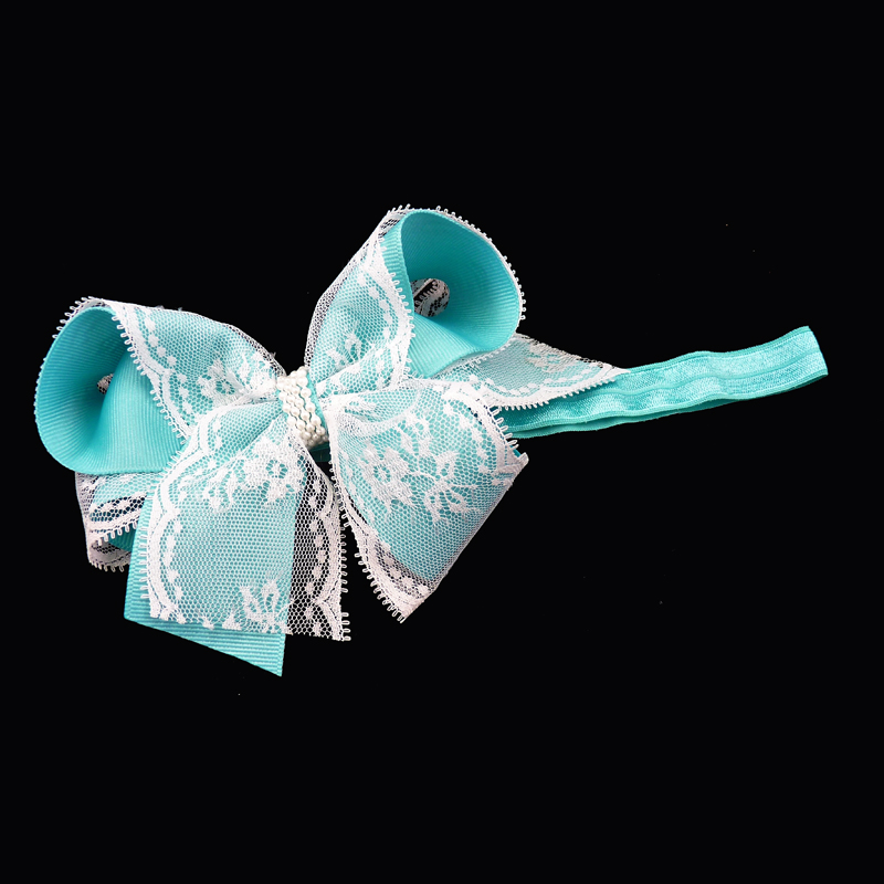 grosgrain lace curly FOE elastic headband head band hairbow hair bow toddler girls child turquoise