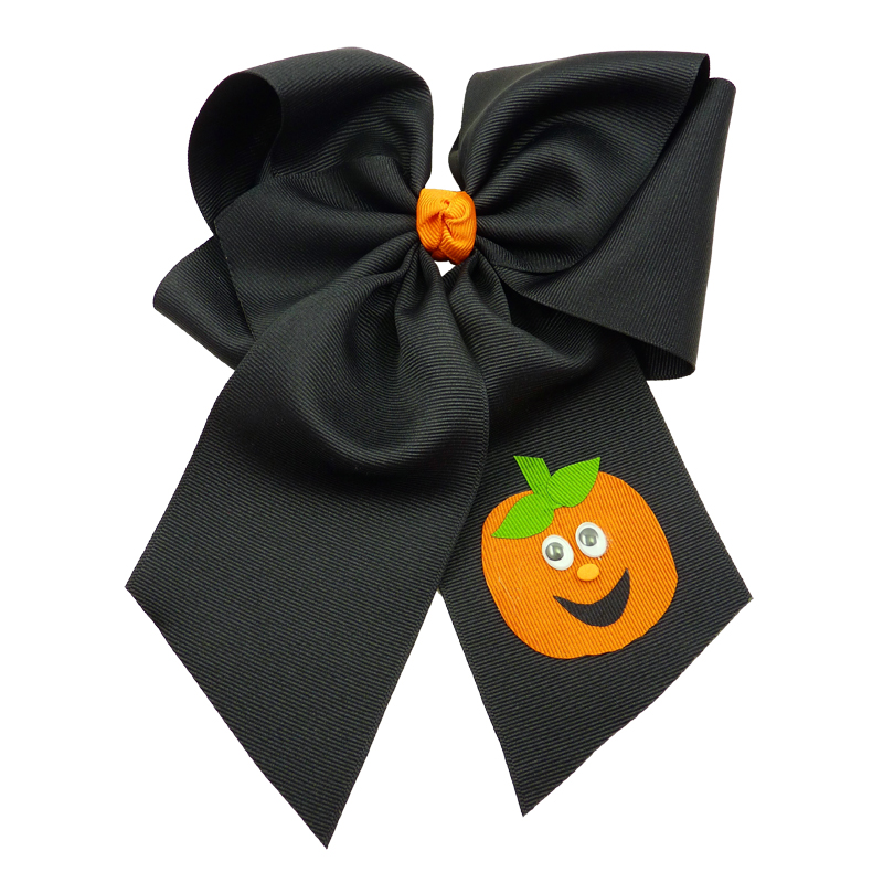 black orange halloween fluff child girls toddler barrette hair bow hairbow