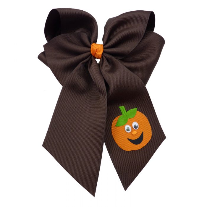 brown orange halloween fluff child girls toddler barrette hair bow hairbow