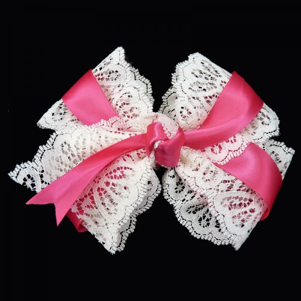 hair bow hairbow lace satin shocking pink toddler girls child