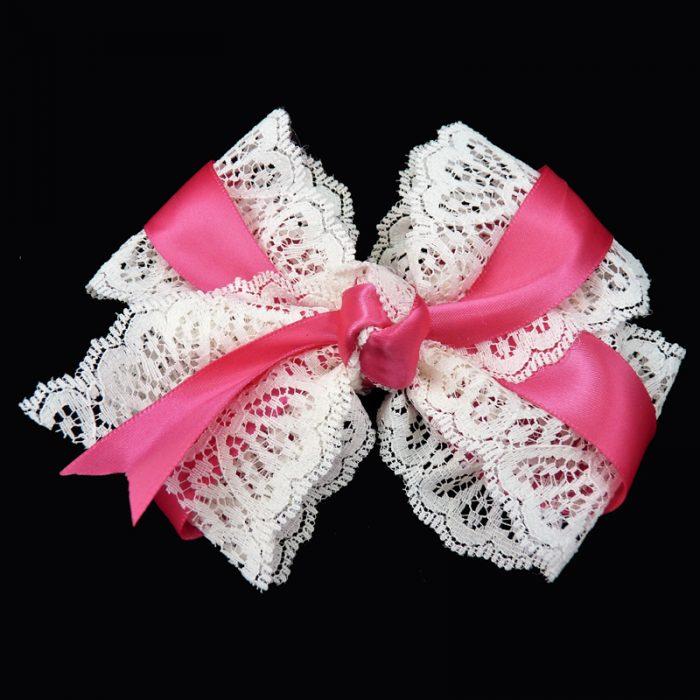 hair bow hairbow lace satin shocking pink toddler girls child