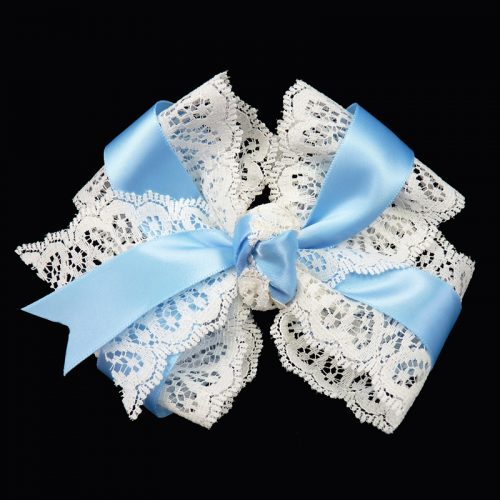 hair bow hairbow lace satin blue toddler girls child
