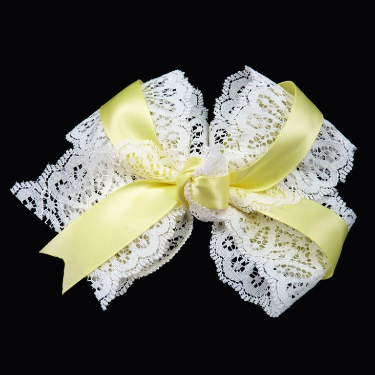 hair bow hairbow lace satin baby maize yellow toddler girls child