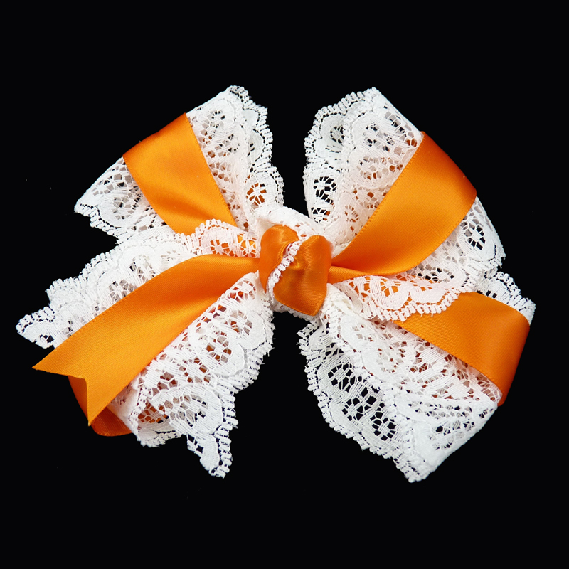 hair bow hairbow lace satin orange toddler girls child