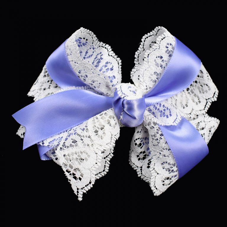 hair bow hairbow lace satin iris purple toddler girls child
