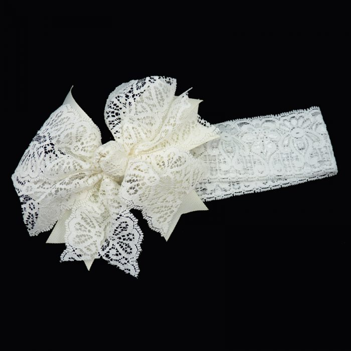 grosgrain v-cut spiky lace stretch headband girls toddler child ribbon bow hairbow hair antique white