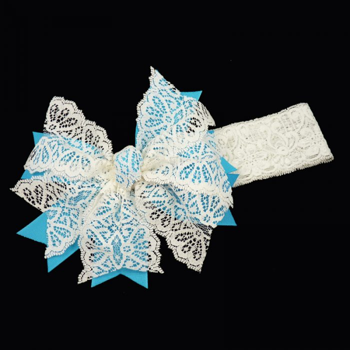 grosgrain v-cut spiky lace stretch headband girls toddler child ribbon bow hairbow hair turquoise
