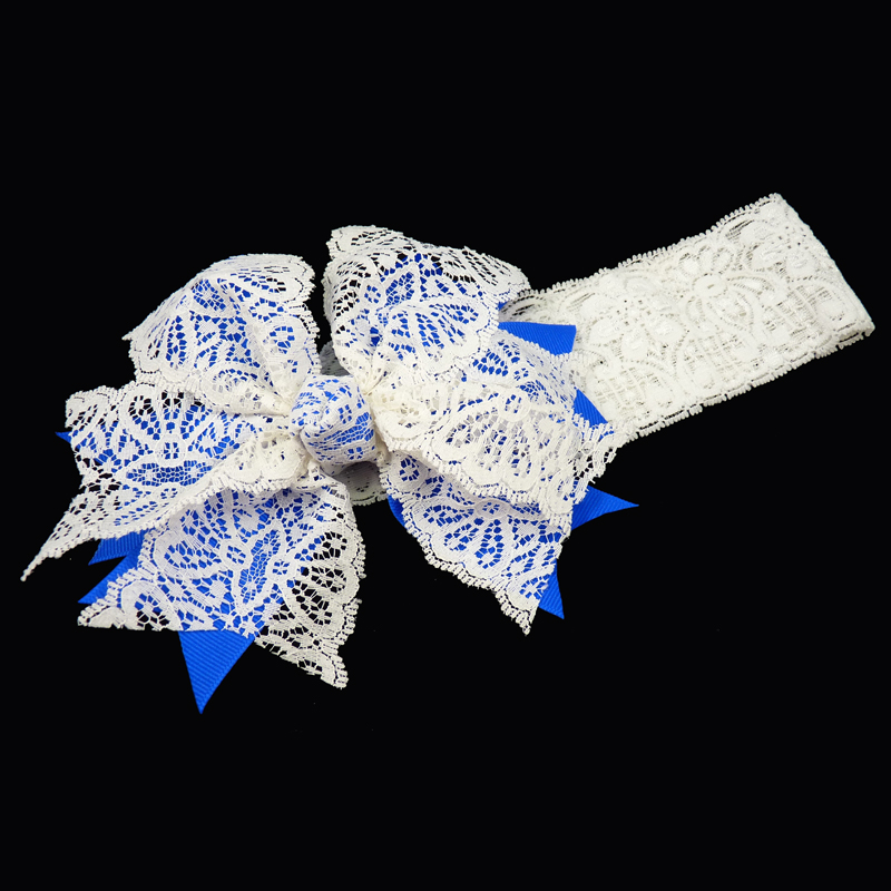 grosgrain v-cut spiky lace stretch headband girls toddler child ribbon bow hairbow hair electric blue