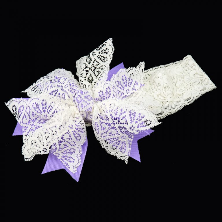 grosgrain v-cut spiky lace stretch headband girls toddler child ribbon bow hairbow hair orchid purple
