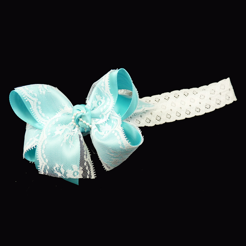 navajo turquoise lace stretch headband head band bow hairbow hair curly fluff pearl pearls toddler child girls