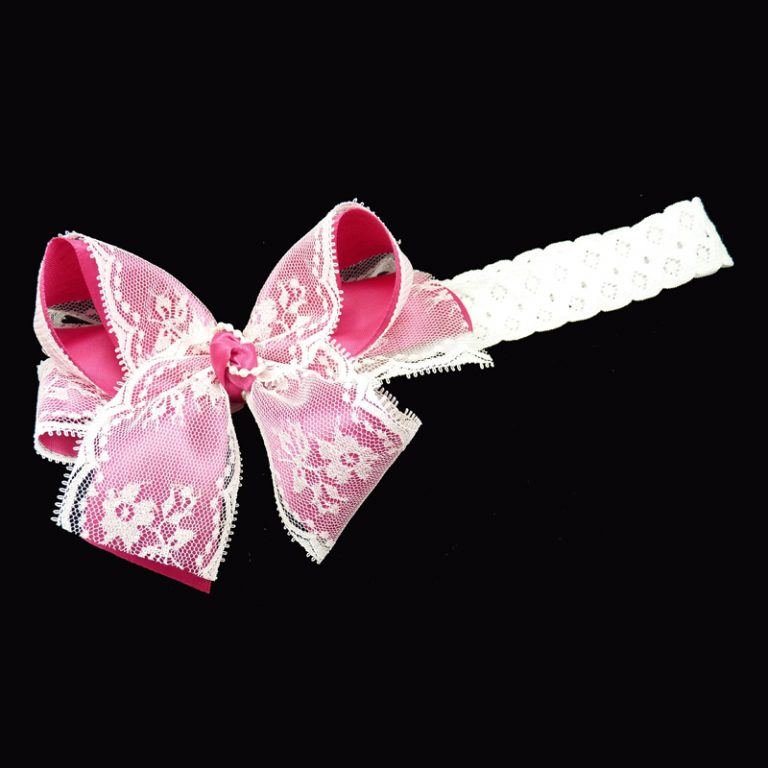 shocking pink lace stretch headband head band bow hairbow hair curly fluff pearl pearls toddler child girls
