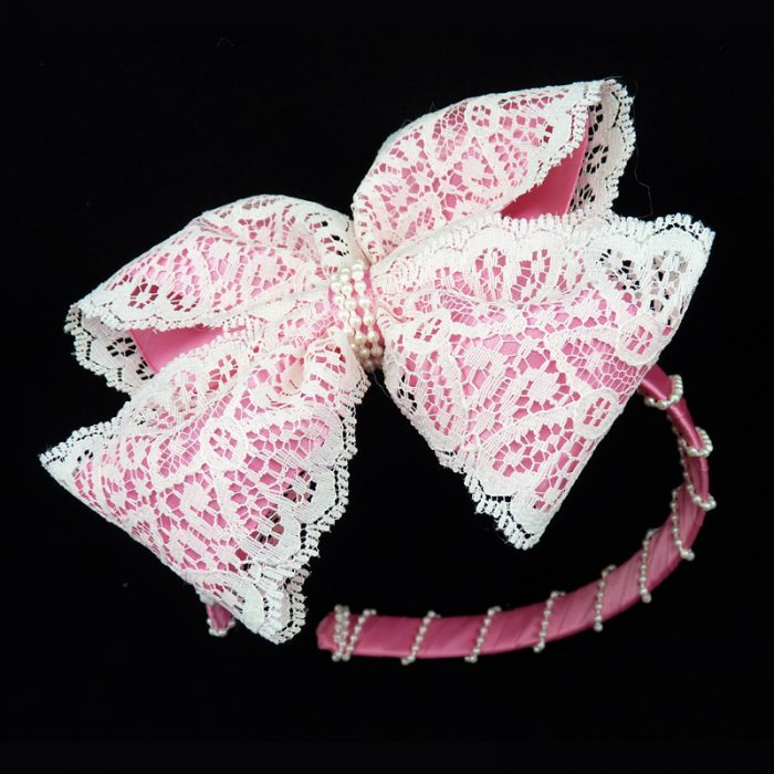 shocking pink lace satin headband head band hair bow hairbow pearl pearls fluff