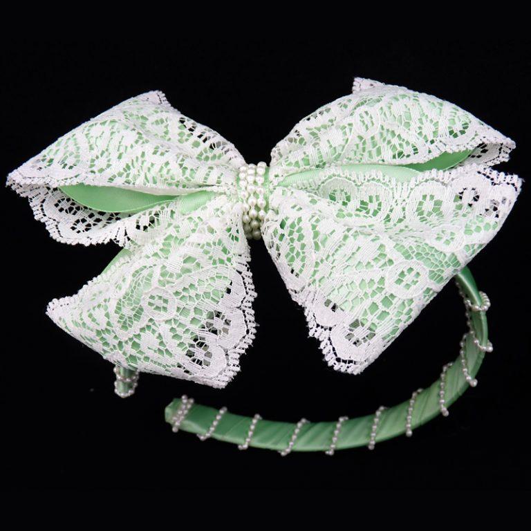 mint lace satin headband head band hair bow hairbow pearl pearls fluff