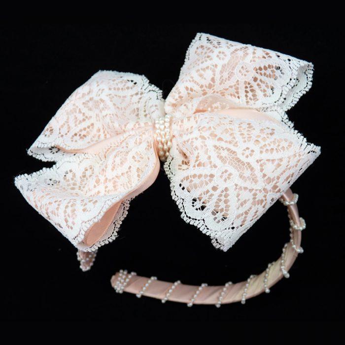 peach lace satin headband head band hair bow hairbow pearl pearls fluff