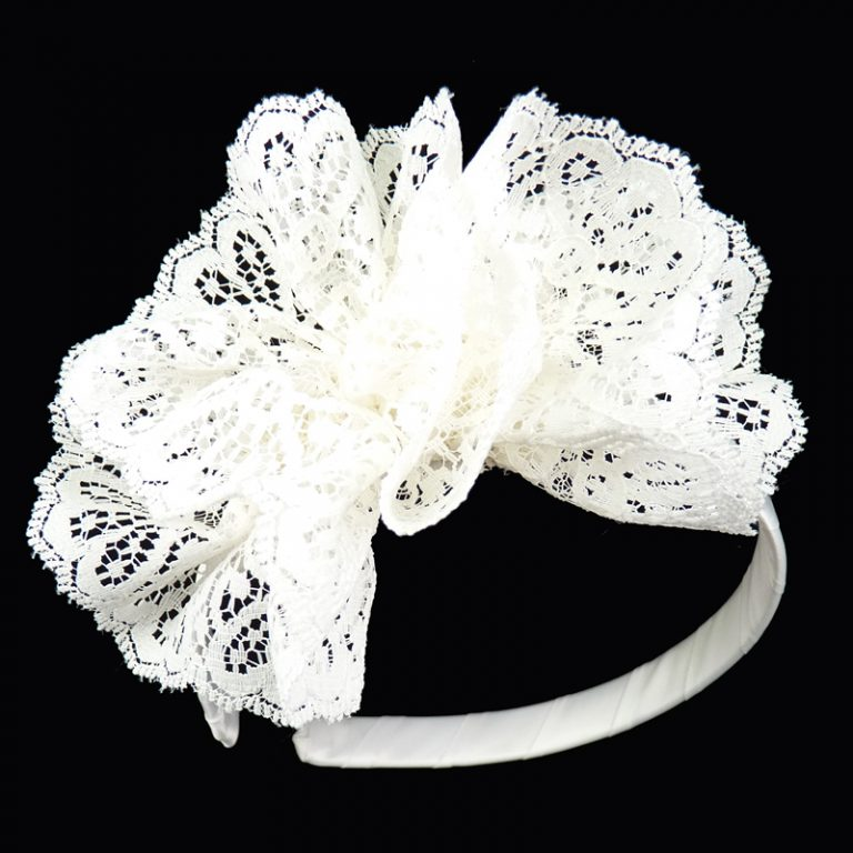 lace white ruffle hairbow hair bow headband head band satin toddler girls child