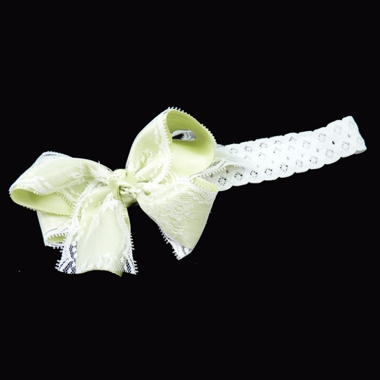 lime juice green lace stretch headband head band bow hairbow hair curly fluff pearl pearls toddler child girls