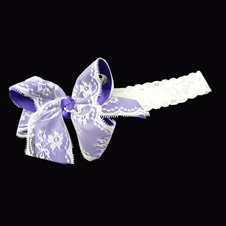 purple lace stretch headband head band bow hairbow hair curly fluff pearl pearls toddler child girls