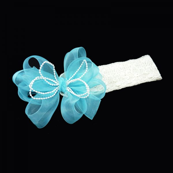 sheer headband lace loop bow hairbow hair curly pearl