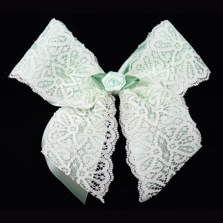 satin lace ribbon bow barrette mint rose girls child toddler
