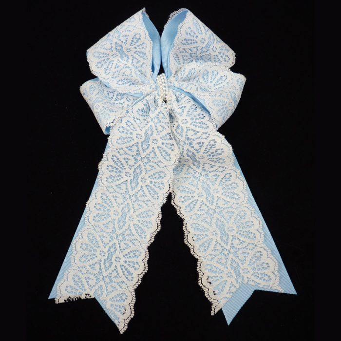 lace grosgrain blue long tail fluff bow barrette pearl