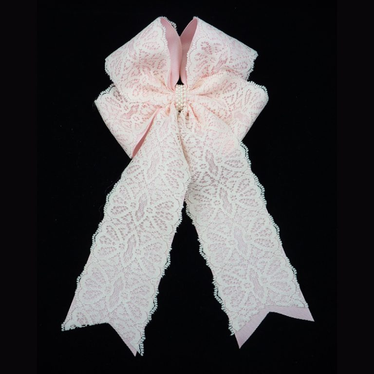 lace grosgrain light pink long tail fluff bow barrette pearl