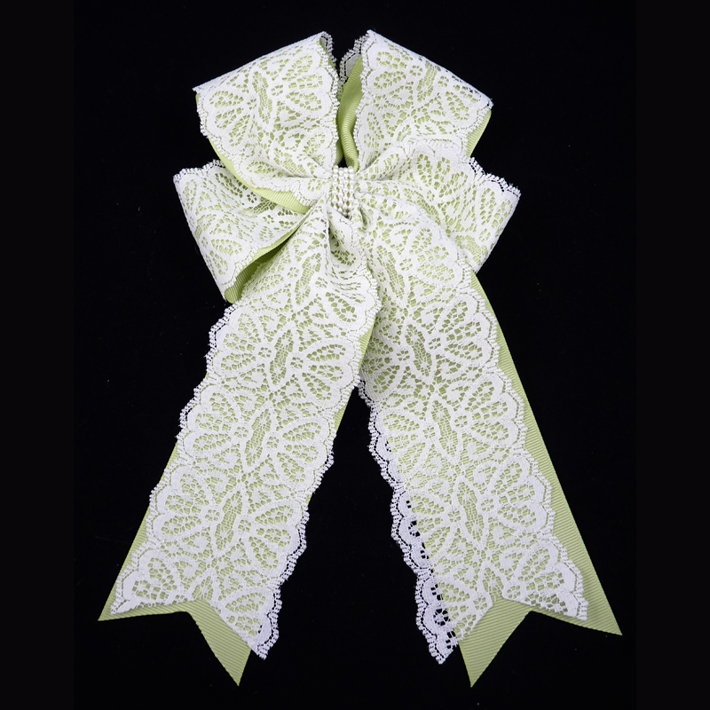 lace grosgrain lime juice long tail fluff bow barrette pearl