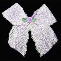 satin lace ribbon bow barrette purple rose girls child toddler