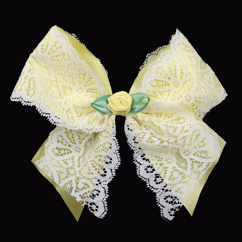 satin lace ribbon bow barrette maize yellow rose girls child toddler