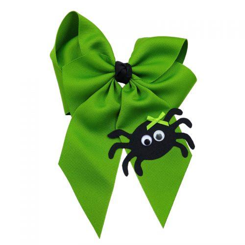 spider halloween fluff child girls toddler barrette hair bow hairbow apple green