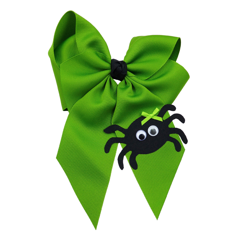 spider halloween fluff child girls toddler barrette hair bow hairbow apple green