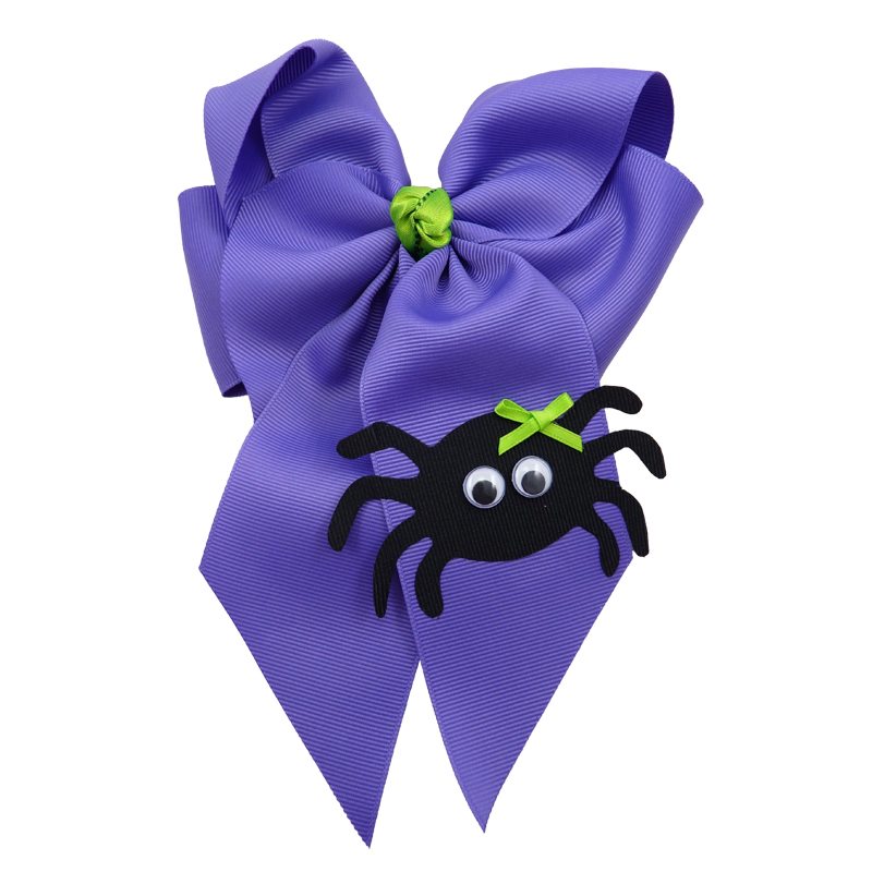 spider halloween fluff child girls toddler barrette hair bow hairbow green purple delphinium