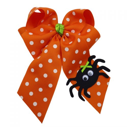 spider halloween fluff child girls toddler barrette hair bow hairbow polka dot orange white green black