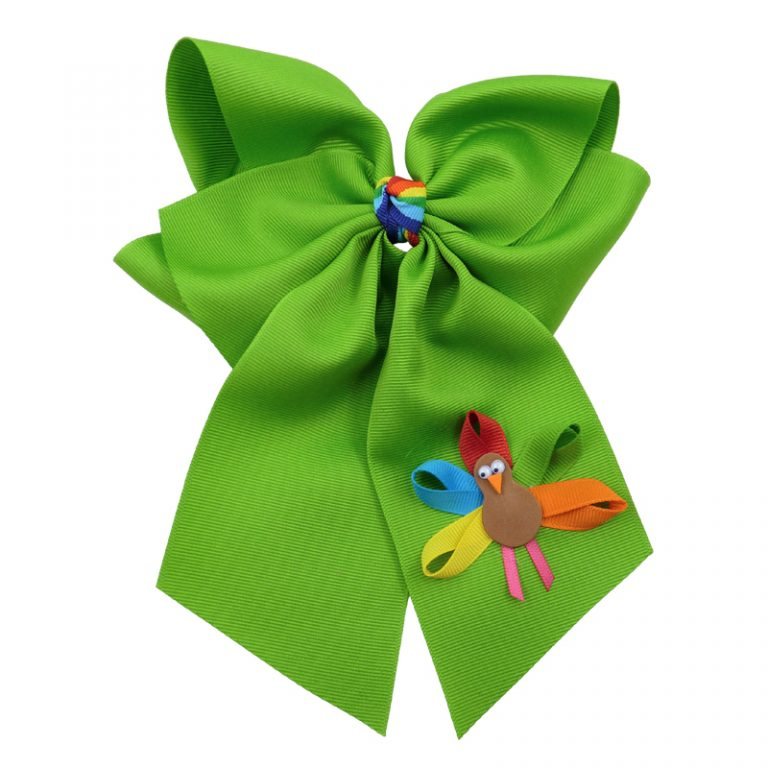 apple green muticolored fluff bow bows hairbow hair girls girl toddler child turkey fall thanksgiving