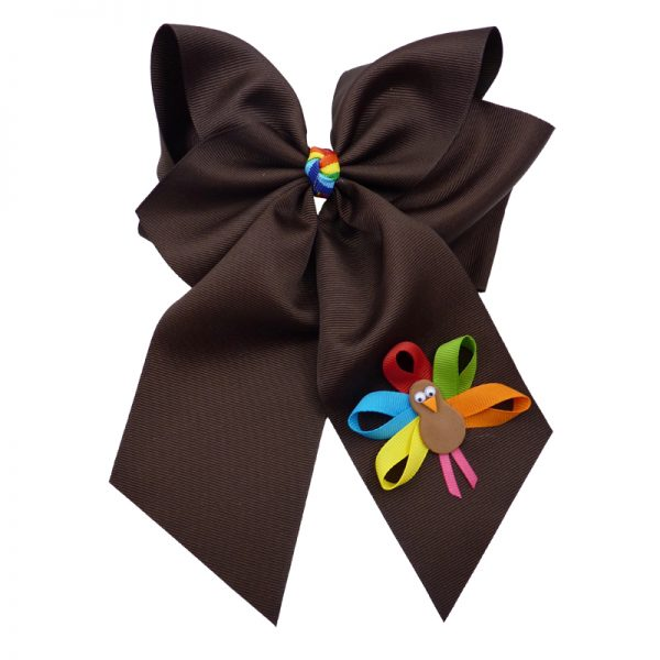 brown muticolored fluff bow bows hairbow hair girls girl toddler child turkey fall thanksgiving