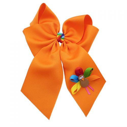 orange muticolored fluff bow bows hairbow hair girls girl toddler child turkey fall thanksgiving