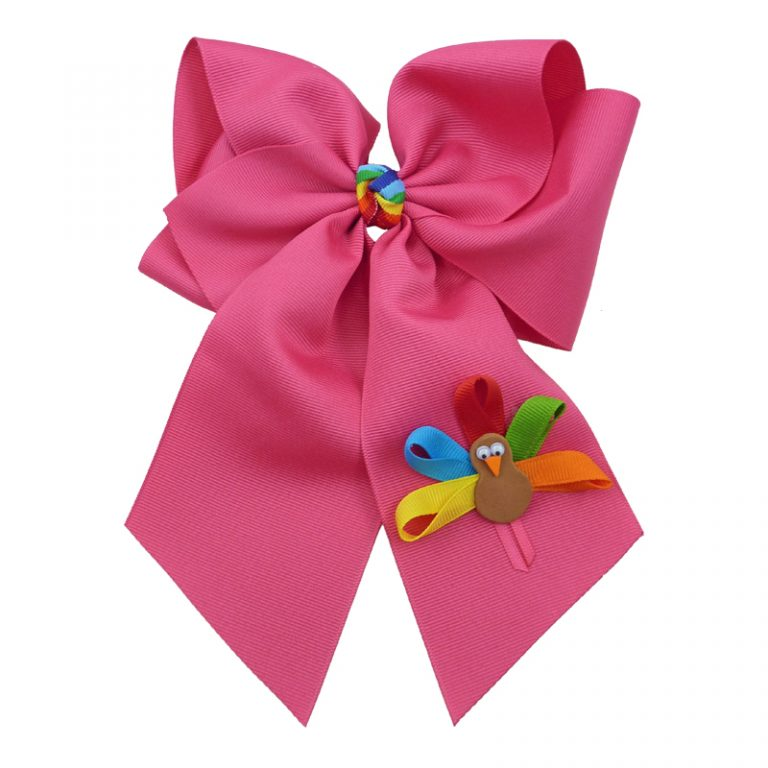 shocking pink muticolored fluff bow bows hairbow hair girls girl toddler child turkey fall thanksgiving