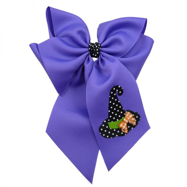 witch hat halloween fluff child girls toddler barrette hair bow hairbow polka swiss dot gingham orange white green black delphinium purple