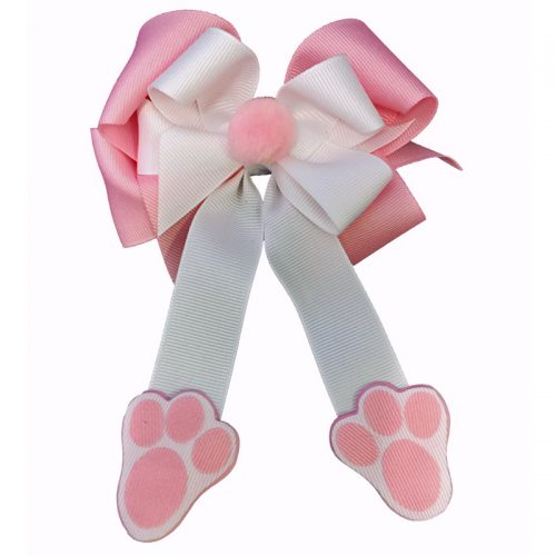 pink white bunny feet hair bow hairbow pompom pom fluff girls girl toddler child easter spring