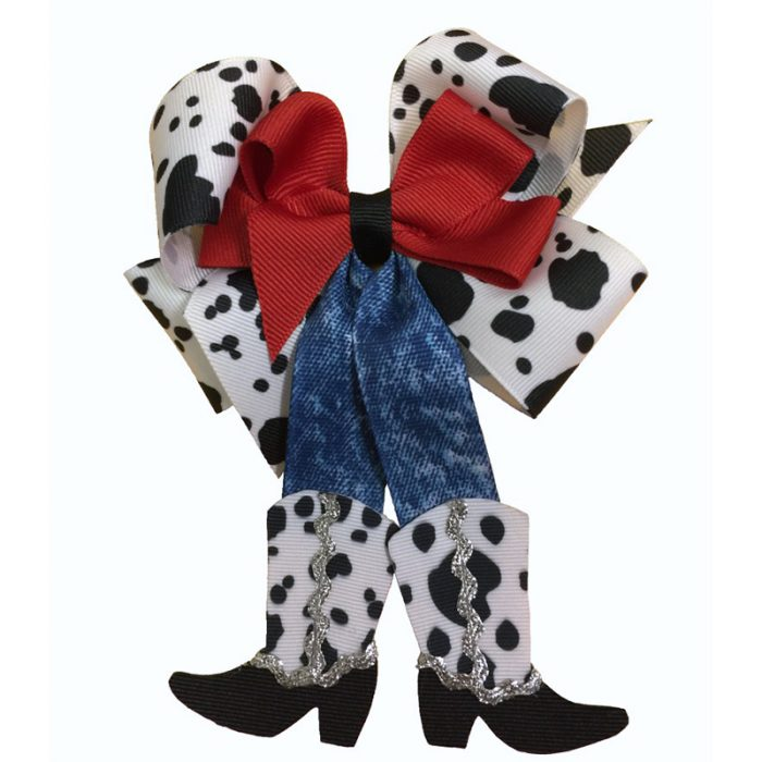 cow print black red jean jeans western cowboy cowgirl bow hair bow hairbow barrette clip clippie child toddler girls grosgrain